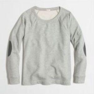 J Crew  Gray Elbow Patch Long Sleeve Sweatshirt